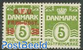 Philatelists day pair (1 with, 1 without overprint