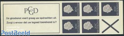 5x20c booklet, normal paper, text:De girodienst vo