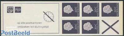 5x20c booklet, phosphor, text: op alle postkantore