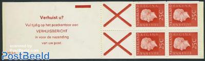 4x25c booklet, phosphor, text: Verhuist u? vul tij