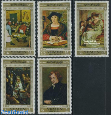Paintings 5v, gold borders